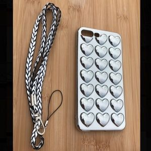 Accessories - NEW Iphone 7/8/7+/8+ 3D Hearts Silver Case